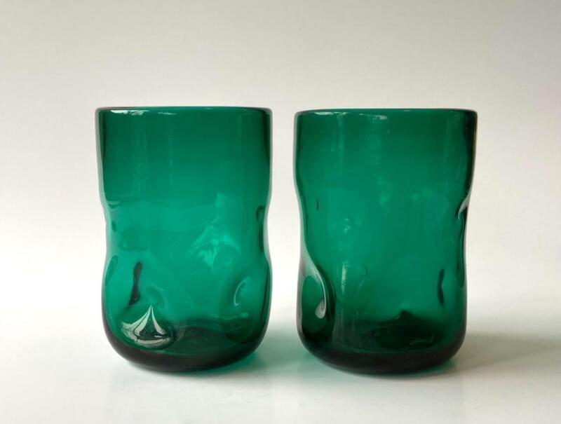 Mid-Century Blenko 418S Short Tumbler Pinched Dimple Art Glass Emerald Green Set