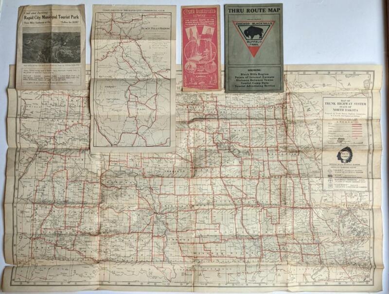 LOT of 5 GRAPHIC VINTAGE TRAVEL BROCHURE s/ MAP s BLACK HILLS SOUTH DAKOTA & ND