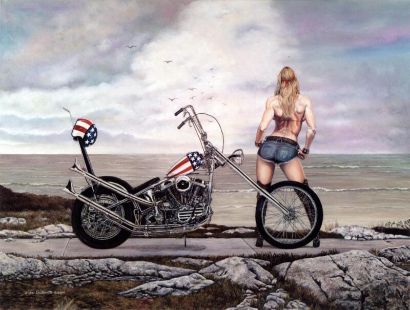 Easy Rider Harley Davidson Chopper Lady Biker Signed Motorcycle Art Print by JG