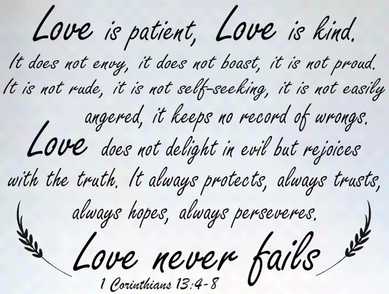 Love Is Patient Love Is Kind Quote 1 Corinthians 1348 Bible Verse Quote Love Is Patient Wall Art