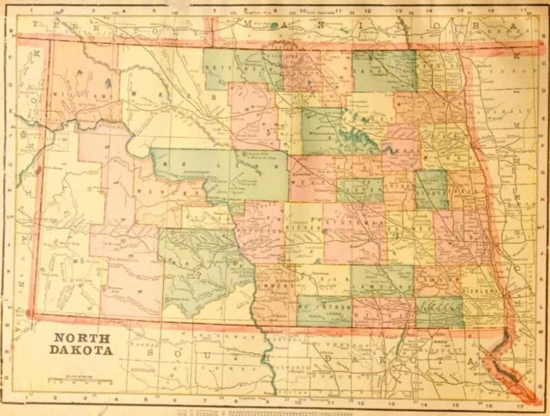 Beautiful Original 1899 North Dakota Large Color Map/10x14