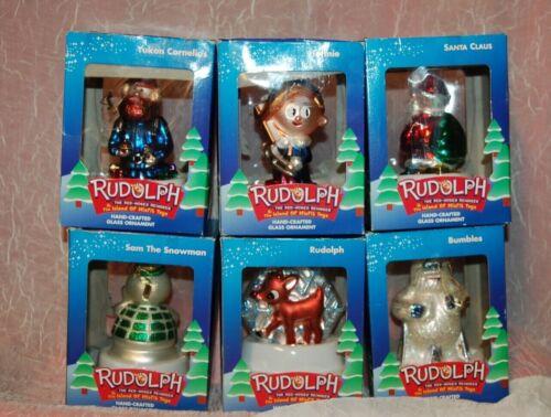 Brass Key set of 6 Rudolph & Island of Misfit Toys Glass Christmas Ornaments EUC