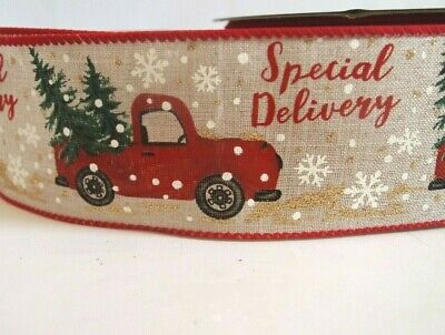 5 Yards Vintage Red Truck Christmas Trees 2 1/2