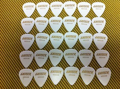30 GRETSCH GUITAR PICKS CELLUOID WHITE MEDIUM GAUGE on Rummage