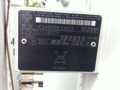 Kuhlman Abb Pole Mount Transformer Non Pcb 797013800grdy - 480 50kva