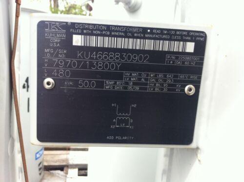 KUHLMAN / ABB POLE MOUNT TRANSFORMER, NON PCB 7970/13800GRDY - 480, 50KVA