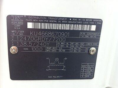 Kuhlman Abb Pole Mount Transformer Non Pcb 720012470grdy 138.5240y 100kva