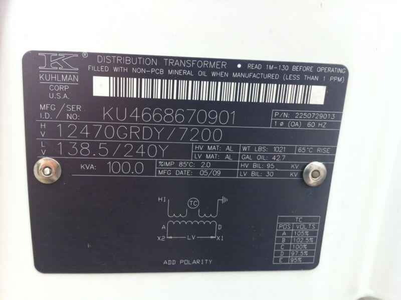 KUHLMAN / ABB POLE MOUNT TRANSFORMER, NON PCB, 7200/12470GRDY 138.5/240Y, 100KVA