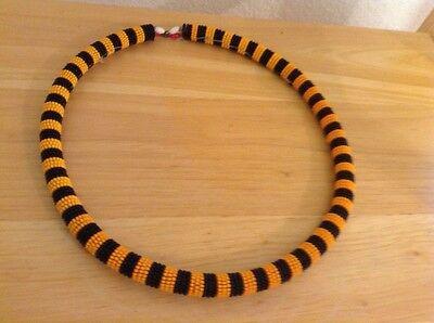 African-Arena Handmade Maasai Masai Beaded Round Black Yellow Jewelry Necklace