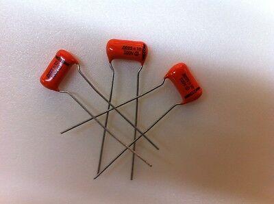 (20 pcs) 225P22291WD3 - Sprague, .0022uF 100v (Orange Drop)Radial Film Capacitor