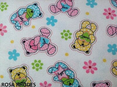 NUTEX QUILTING FABRIC - PRINTED WINCEY BEAR - 41049 (2) - PER METRE