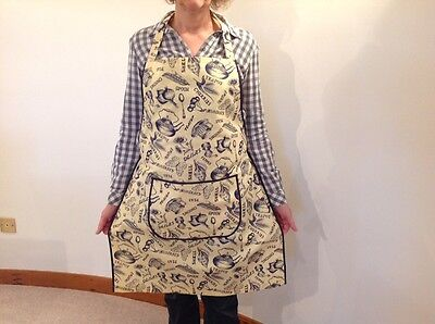 Ladies country style full apron Cream & Blue Traditional Kitchen Print Handmade
