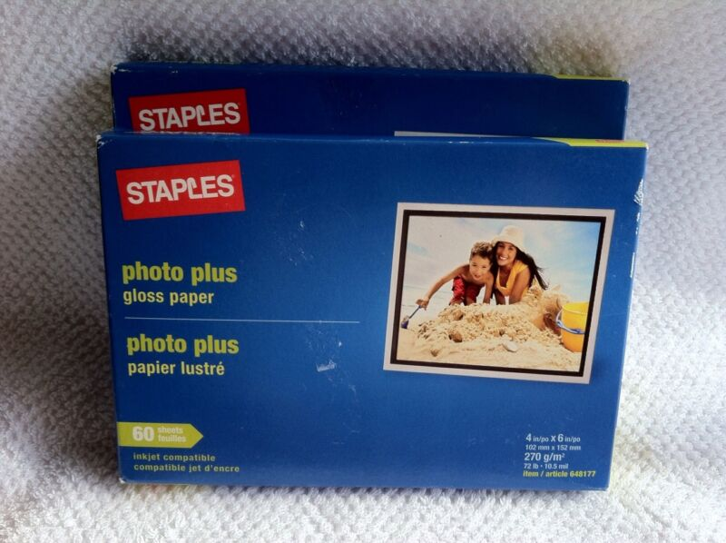 Staples Photo Plus Gloss Paper 50 Sheets 4 x 6 inkjet Item# 508430 New & Sealed