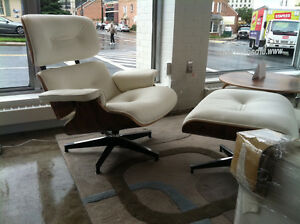 off white 100% top grain lounge chair and ottoman in palisander.eames.eque.era