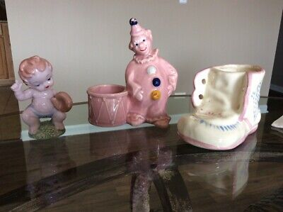 Baby Shoe Vintage Ceramic Planter Pot Pink, Clown and Baby with Baseball - Baby Clown Shoes
