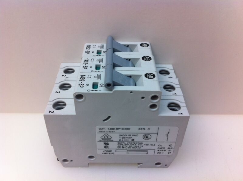 LOT (3) GUARANTEED! ALLEN-BRADLEY 3A CIRCUIT BREAKERS 1492-SP1C030