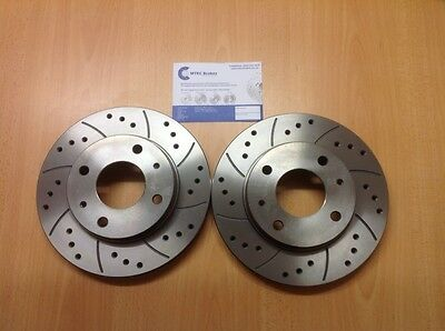 Ford Fiesta mk7 09-12 All Front Drilled Grooved Mtec Sports Brake Discs