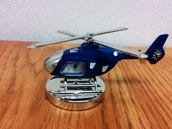 BLUE ~  Helicopter  ~ Desk or Mantel Clock ~ Statue Figurine