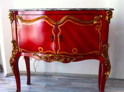 Kommode Vitrine Anrichte Marmorplatte Barock - Holz - rot-gold