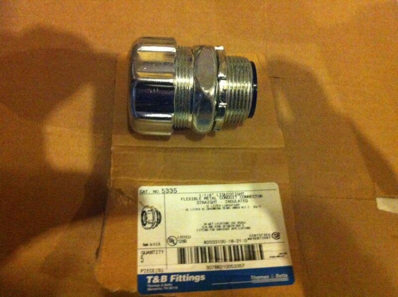 "Lot of 4 T & B 1-1/4"" flexible conduit connector straight liquid tite 5335"