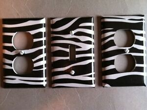 LIGHT-SWITCH-PLATE-ZEBRA-PATTERN-W-2-OUTLET-COVERS-FREE-SHIPPING