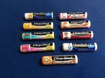 - ChapStick: Original, Strawberry, Candy Cane, Sugar Cookie, Lemonade, Green Apple