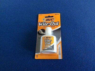 Wite-out Quick Dry Correction Fluid To Correct Errors Bic White 0.7 Oz New