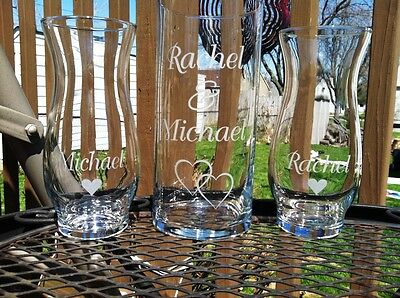 Etched Glass  Personalized  Sand Ceremony Unity Set  Vases Wedding Ceremony  - Sand Ceremony Vases