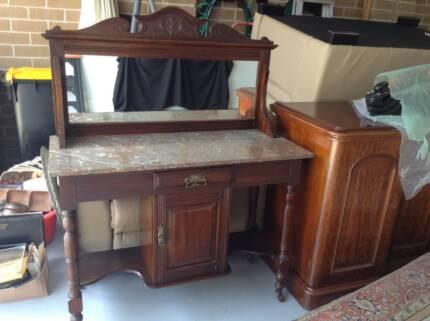 antique edwardian walnut marble top mirror back wash stand