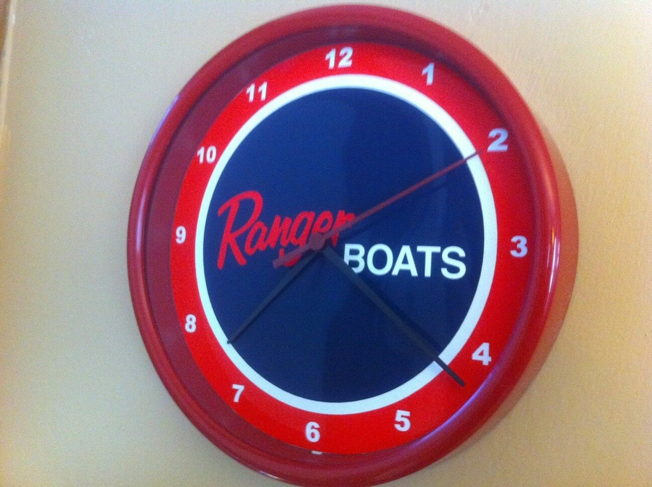 Ranger Fishing Boat Garage Advertising Man Cave Red Wall Clock