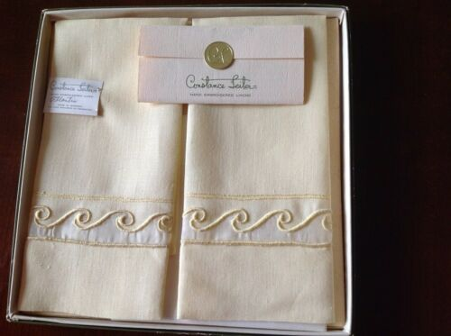 Vintage Constance Leiter Hand Embroidered Pair of Towels