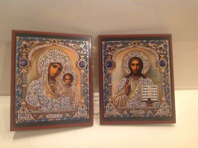 "Russian Diptych Icon Virgin of Kazan and Christ the Pantocrat 9 2/8"" x 5 3/8"""