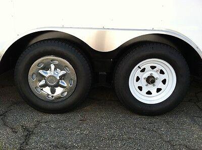 "(2) 14"" Chrome Trailer Wheel Hub Cap Rim Covers SHARP!! Phoenix USA QT544CLS"