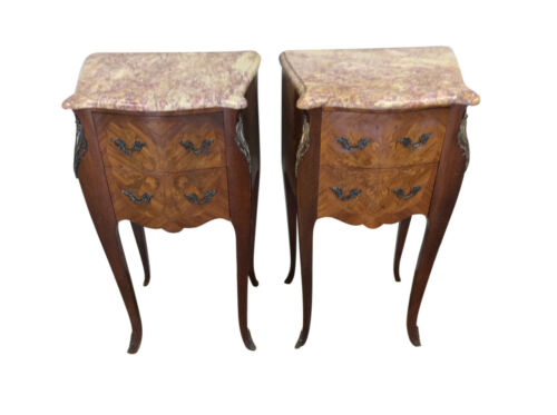 Marble Top Vintage French Night stands, Walnut and Inlay