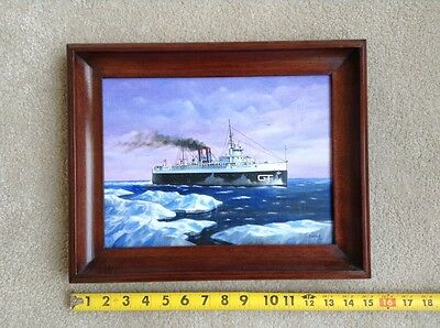 Russ Porter Original Oil Painting  Grand Trunk Carferry  Ss City Of Milwaukee