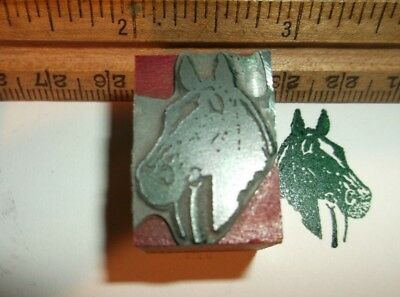 Antique Prize Winning Horse Zinc Wood Cut Letterpress Printing Block Vintage