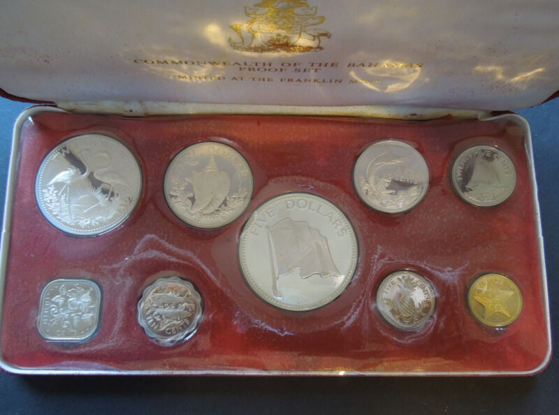 Bahamas 1974 QEII 1c-$5 Silver Coin Proof Set w/Box & Papers 2.8721 ASW