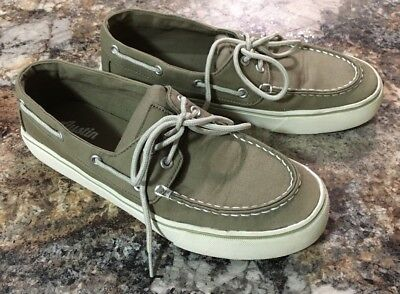 Mens Austin Trading Co Tan Canvas Boat Shoes-Size 8