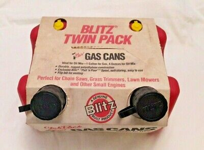Vintage New Old Stock Blitz Twin Club Pack Gas Cans 1 Gal 4 Oz. W Spout Vent