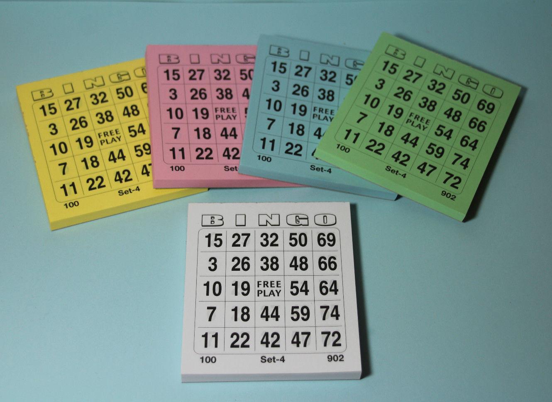 Bingo Spiel Karten Bingokarten Ticket-Block mit je 500 Scheinen versch Farben