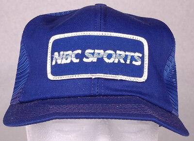 Vtg Nbc Sports Hat Blue Mesh Snapback Patch Trucker Cap Tv Media Entertainment