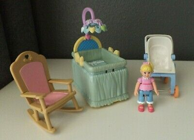 Fisher Price Dollhouse Nursery Furniture - Stroller, Rocker & Bassinet Set #3