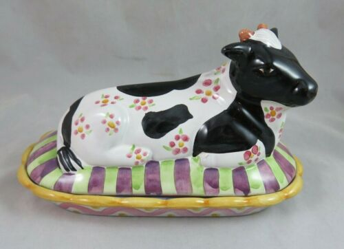Mackenzie Childs - Molly the Holstein Cow - Majolica Butter Dish