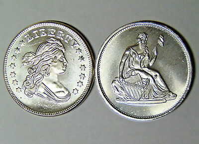 Lot of 2 Silver 1 oz .999 Fine Rounds Bust Dollar Seated Liberty Design (82718)