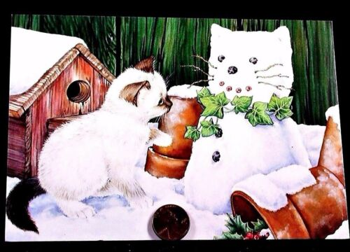 Adorable Kitten Cat Kitty Snowman Pots Birdhouse - Christmas Greeting Card - NEW