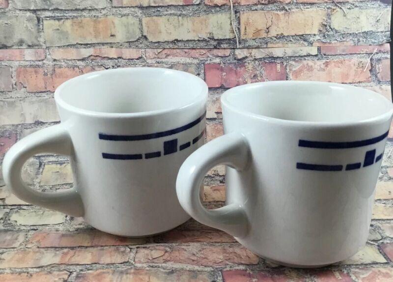 Restaurant Wear Mugs Brazil White Blue Geometric Set of 2 Mugs excellent