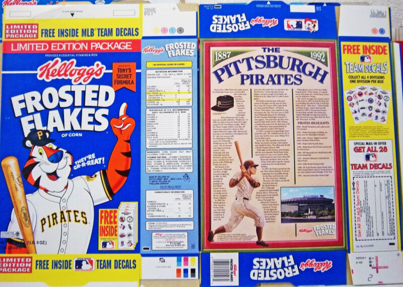 1992 Frosted Flakers Pitsburgh Pirates Cereal Box  unused factory Flat shm252