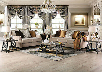 Camilla Sofa and Loveseat Furniture Living Room Set Putty Living Room Set