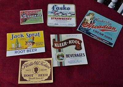 Vintage Advertising Paper - Vintage  PAper Advertising Soda Pop Bottle Labels  (6pcs.)