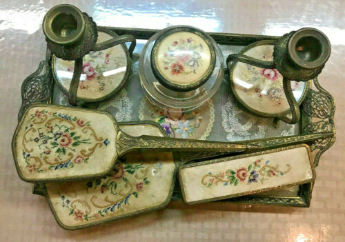 Vintage filigree petit point roses brush tray VANITY SET from England Free shipp